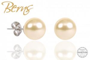 Cercei, perle Swarovski, crem, diametru, 6mm