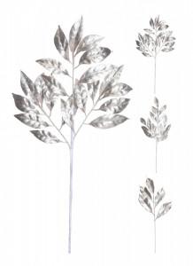 Creanga artificiala, cu frunze, argintie, 55 cm