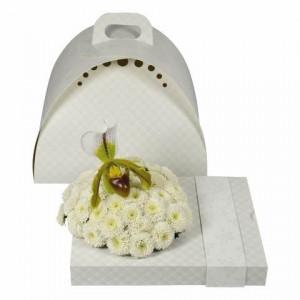 Cutie cadou pentru aranjament floral, model alb
