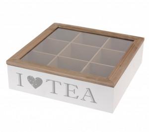 Cutie depozitare ceai, 9 compartimente, TEA, 24x24x7 cm