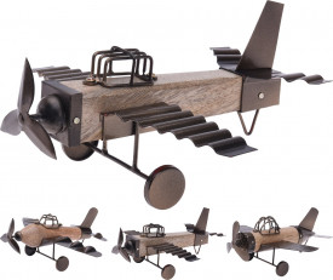 Decoratiune avion, lemn/metal, 26 cm