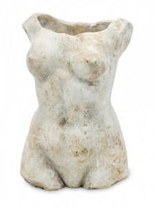 Decoratiune, bust femeie, gri, 28x17x12 cm