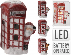 Decoratiune ceramica, cabina telefonica, Santa, LED