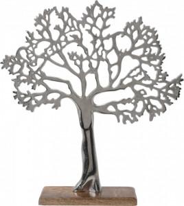 Decoratiune copac metalic, baza de lemn, 42 cm