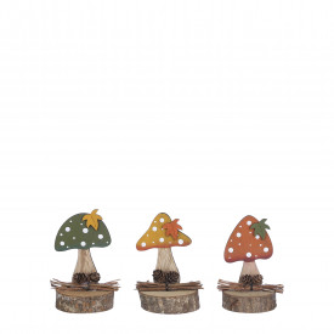 Decoratiune lemn ciuperca, color, 6x6x11.5cm
