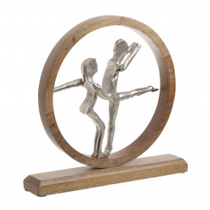 Decoratiune metalica cuplu, baza lemn, 28x7x27 cm