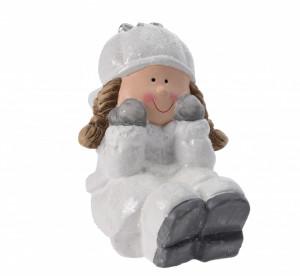 Figurina ceramica fetita asezata, 14 cm