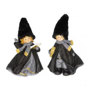 Figurina copii, caciula txt, negru/auriu, 15x12x23 cm