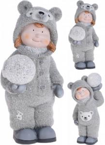 Figurina, copil in costum de ursulet, cu LED, 26 cm