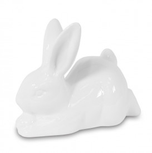 Figurina de portelan iepuras, alb, 9x12x6 cm