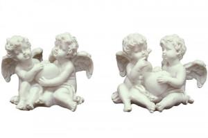 Figurina ingerasi, cu inimioara, alb, 8x11x8 cm