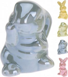Figurina portelan, iepuras color, 6-7 cm