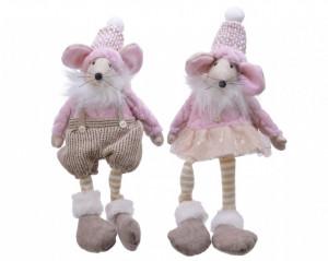Figurina textla soricel, alb/roz, picioare atarnate, 33 cm