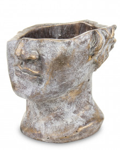 Ghiveci de piatra, figura, bronz, 19x20x18.5 cm