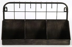 Ghiveci metalic negru, cu maner, 3 compartimente, 35x12.5x20 cm