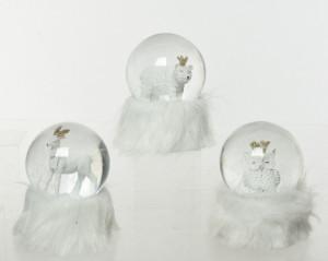 Glob de zapada, figurina iarna, baza blana, 10x14 cm