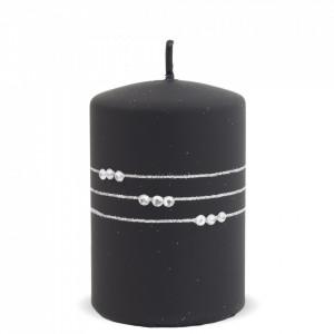 Lumanare cu pietre, negru mat, 10.5x7 cm