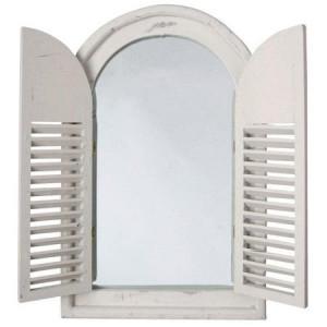 Oglinda cu obloane, model alb antichizat