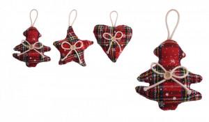 Ornament textil, Craciun, cu agatatoare