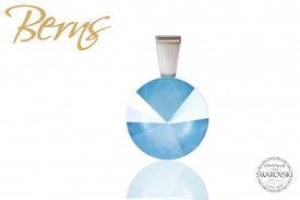 Pandantiv, cristal Swarovski, albastru deschis, diametru 12 mm