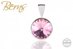 Pandantiv, cristal Swarovski, roz, diametru 10 mm