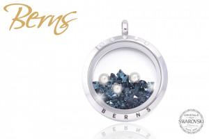 Pandativ, cristale Swarovski albastre + perla, argintiu