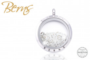 Pandativ, cristale Swarovski + perla, argintiu