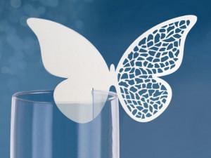 Place card pentru pahar in forma de fluture