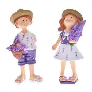 Set 2 figurine ceramica copii, model lavanda, 9 cm
