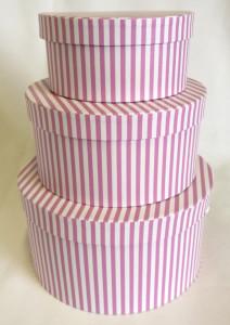 Set 3 cutii carton model dungi alb/roz