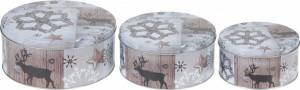 Set 3 cutii metalice, rotunde, model white xmas