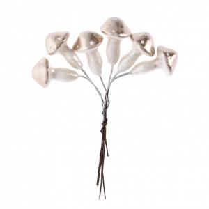 Set 6 ciuperci din polistiren, aurii, 2 cm