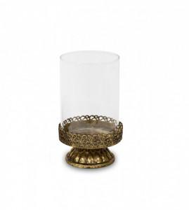 Sfesnic lumanare, baza metalica, auriu antic, 13x7.5 cm