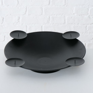 Suport 4 lumanari, Haris, metalic, negru, 10 cm