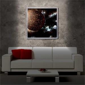 Tablou iluminat LED cu rama metalica Burning Planet (60 x 60 cm)