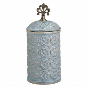 Vaza ceramica cu capac, auriu/blue antichizat, 15x34 cm