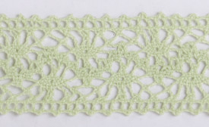 Banda textila, dantela, verde deschis, 38mm x 10m