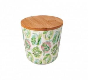 Bol cu capac ermetic, bambus, verde, 10x10.5 cm