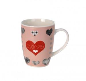 Cana ceramica, roz, mesaj Love , 300 ml