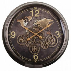 Ceas de perete, metalic, maro, 62 cm