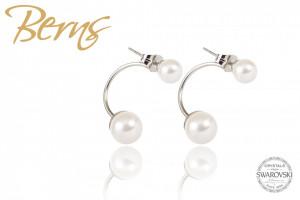 Cercei, 2 perle Swarovski, alb/argintiu, marime S
