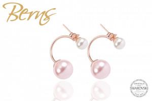 Cercei, 2 perle Swarovski, alb/roz