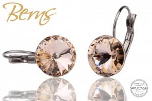 Cercei, cristale Swarovski, cu agatatoare, crem, diametru 12 mm