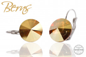 Cercei, cristale Swarovski, cu agatatoare, galben, 14mm