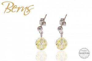 Cercei, cristale Swarovski, cu agatatoare, gri/galben