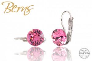 Cercei, cristale Swarovski, cu agatatoare, roz, 8 mm