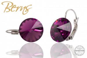 Cercei, cristale Swarovski, cu agatatoare, violet, 14mm