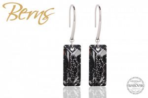 Cercei, cristale Swarovski, forma dreptunghiulara,argintiu/negru