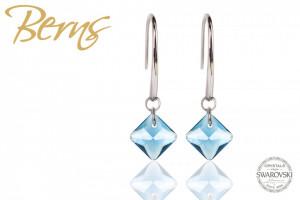 Cercei, cristale Swarovski, forma romb, albastru