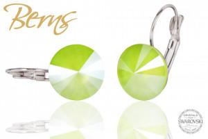 Cercei, cristale Swarovski, lime, diametru 12 mm